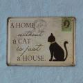 Plechová tabulka Dům bez kočky - velká