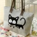 Taška kočka s rybou - šedá
