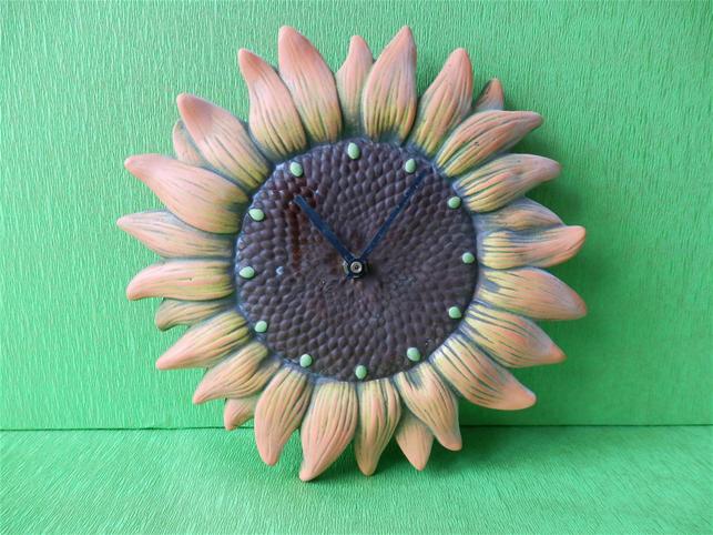 Keramické hodiny slunečnice