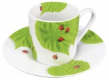Hrnek Ladybird on leaves - espresso - berušky
