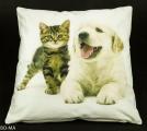 Povlak na polštář - zívající pes a kočka