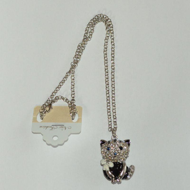 Přívěšek na krk kočka s mašlí - velká
