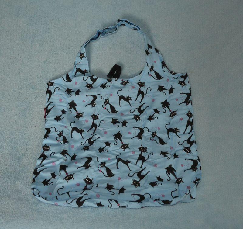 Bavlněná taška černé kočky - velká modrá
