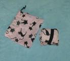 Bavlněná taška černé kočky - velká růžová