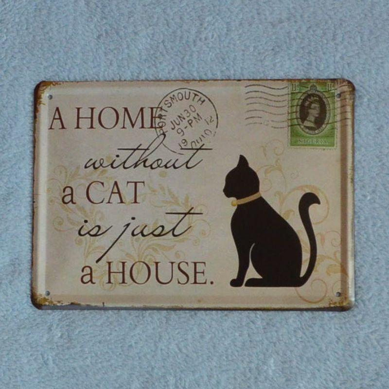 Plechová tabulka Dům bez kočky
