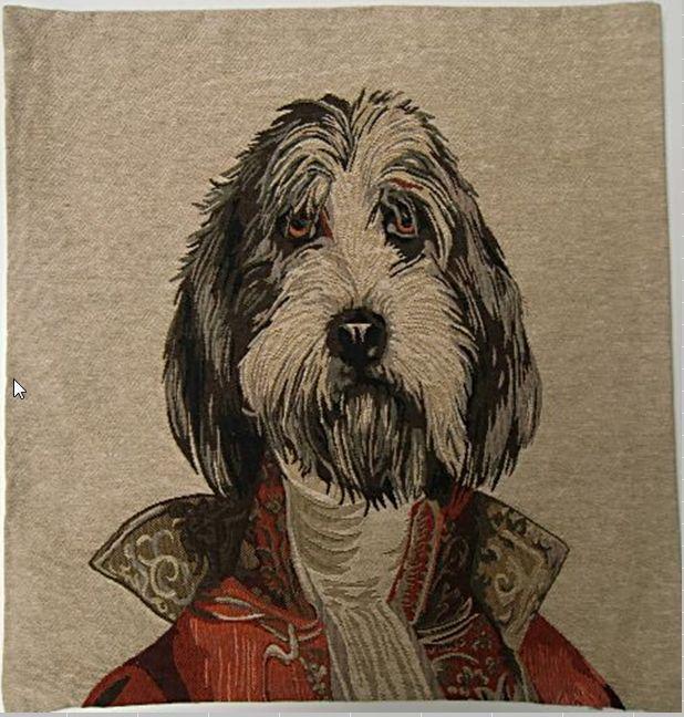Gobelínový návlek na polštář pes - knírač v červeném