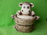 Dóza - hrnec jutový s krávou