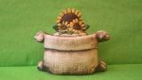 Dóza - hrnec jutový se slunečnicemi malý barevný