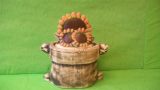 Dóza - hrnec jutový se slunečnicemi velký
