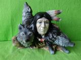 Soška Indián s vlky