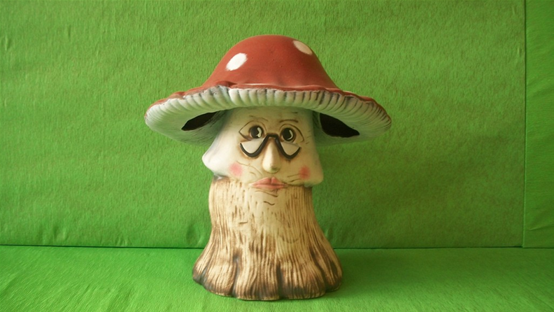 Keramická houba - muchomůrka s obličejem