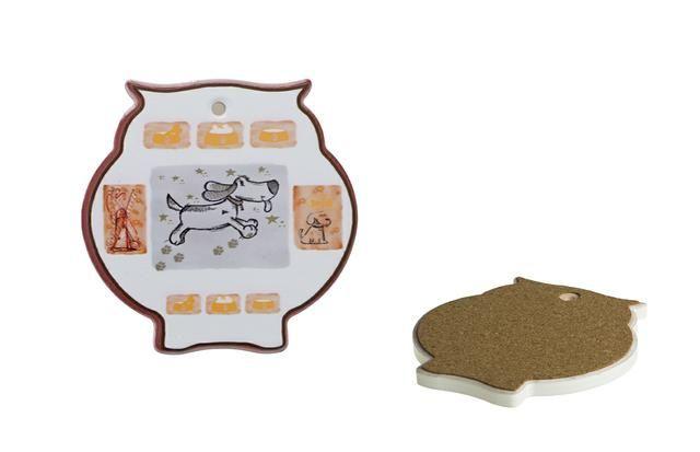 Podtácek ve tvaru sovy s motivem psa