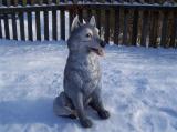 Soška sedící vlk barevný
