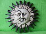Keramická nástěnná ozdoba slunce a měsíc natur dark