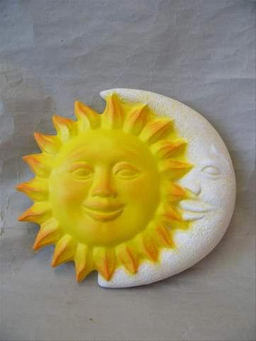 Keramická nástěnná ozdoba slunce a měsíc