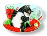 Podčajník / čajítko Kočka v máku
