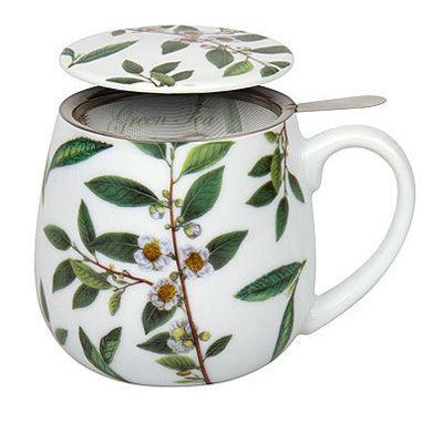 hrnek se sítkem, lístky zeleného čaje