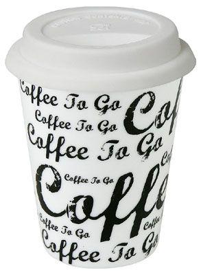 Cestovní hrnek Káva na cestu bílá