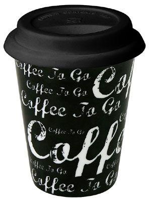 Cestovní hrnek Káva na cestu černá
