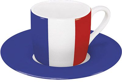 Hrnek na espresso s francouzskou vlajkou
