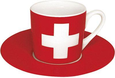 Hrnek na espresso se švýcarskou vlajkou