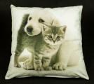 Povlak na polštář - pes a kočka tulící