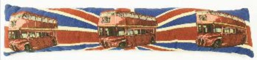Gobelínové těsnění do okna - červený autobus