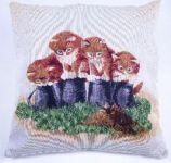 Povlak na polštář gobelín 4 kočky