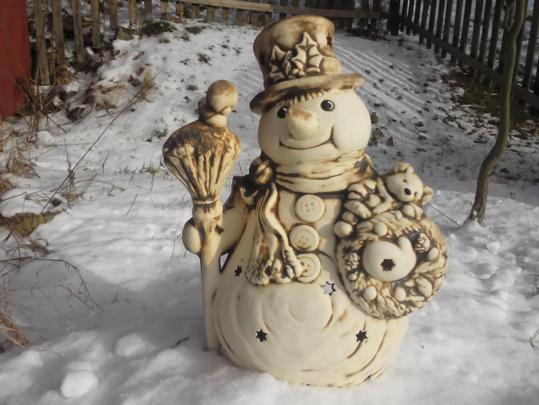 Svítidlo velký sněhulák hvězdy Česká keramika