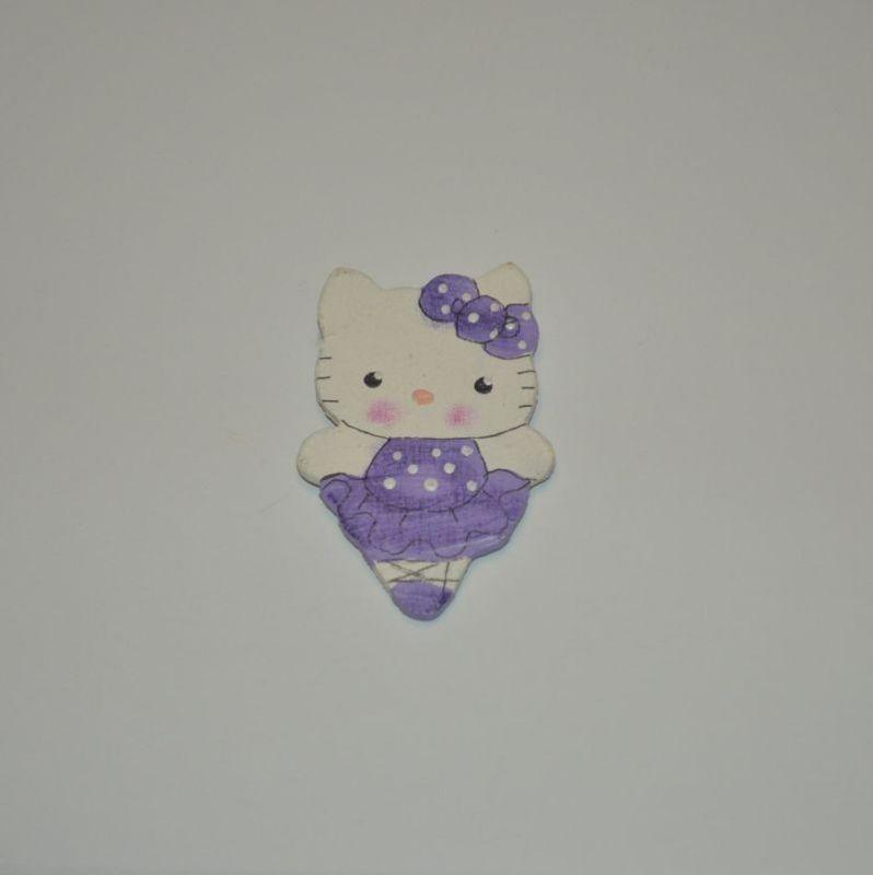 Magnet dřevěný kočka typ 12 kočinda fialová