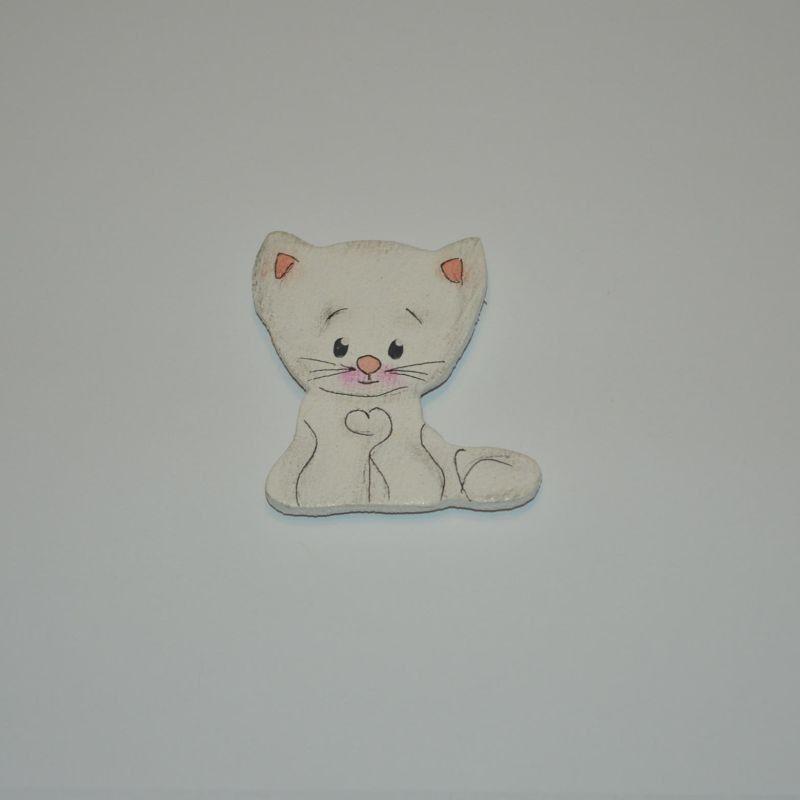 Magnet dřevěný kočka typ 20 bílé kotě