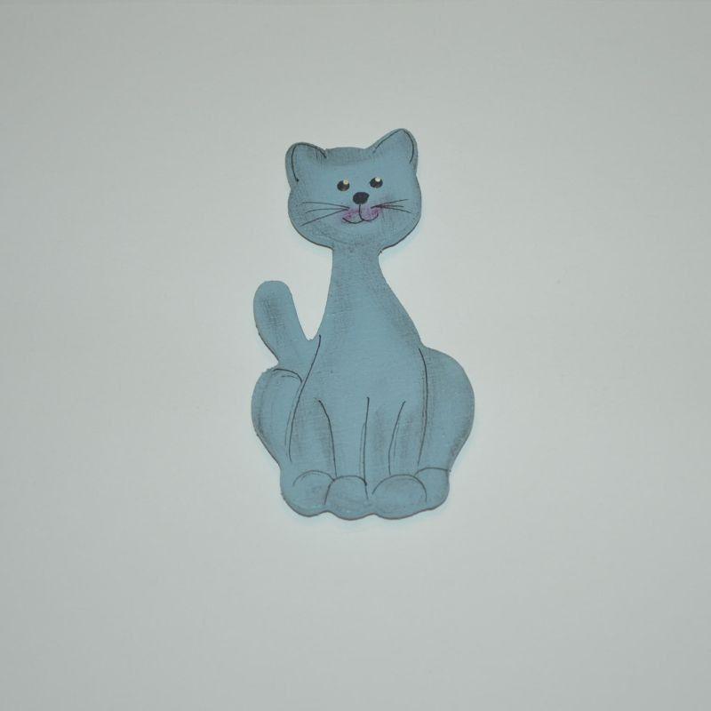 Magnet dřevěný kočka typ 23 modrý kocour
