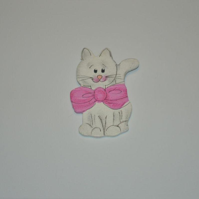 Magnet dřevěný kočka typ 25 s růžovou mašlí