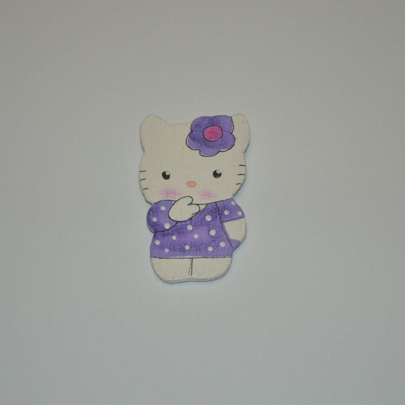 Magnet dřevěný kočka typ 27 kočička fialová
