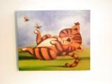 Obraz kočka a motýli