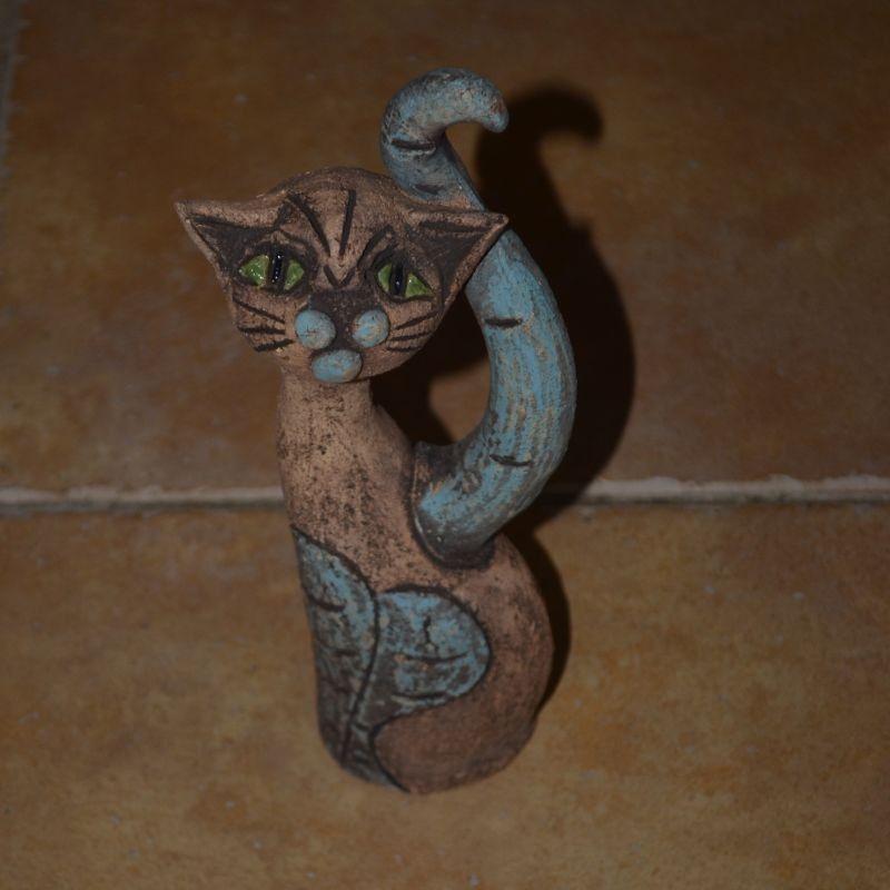 Šamotová soška kočky - malá stojící Red Zed