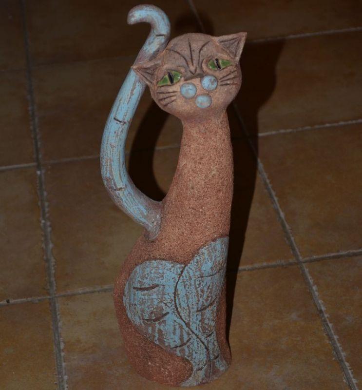Šamotová soška kočky - velká stojící