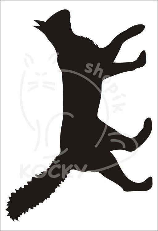 Samolepka kočka jdoucí s chlupatým ocasem 0021