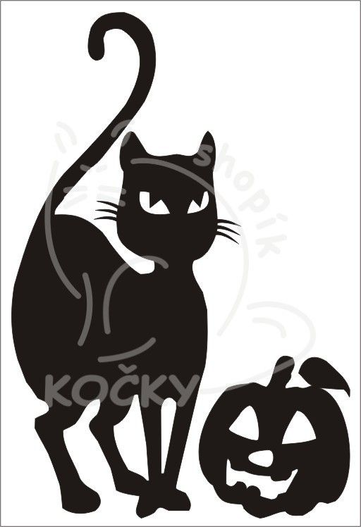 Samolepka kočka s Haloweenskou dýní 0040