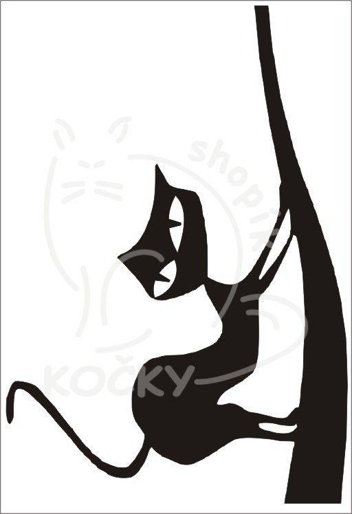 Samolepka kočka na větvi 0058