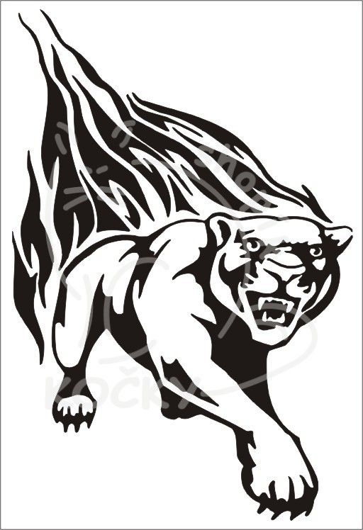 Samolepka tygr s plameny 0059