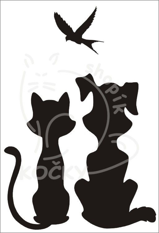 Samolepka pes a kočka sledují ptáčka 0060