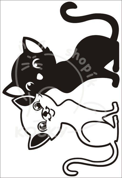 Samolepka koťata black & white 0065