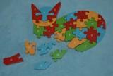 Dřevěná puzzle skládačka pro děti kočka