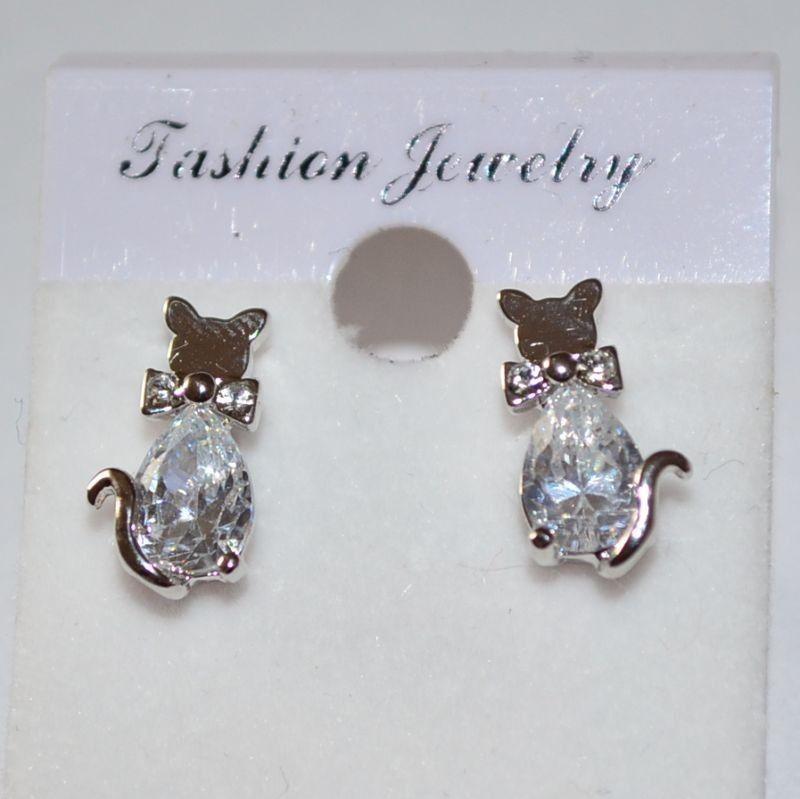 Náušnice diamantová kočička s mašlí