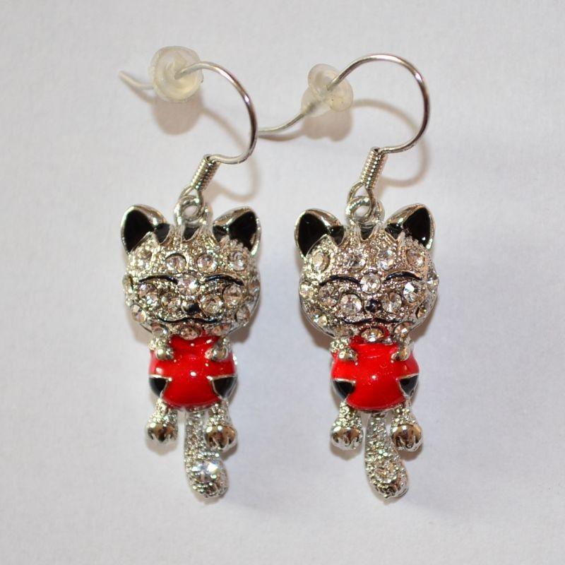 Náušnice kočka s červeným srdíčkem