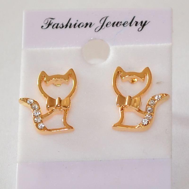 Náušnice zlatá kočka s mašlí a diamanty v ocásku