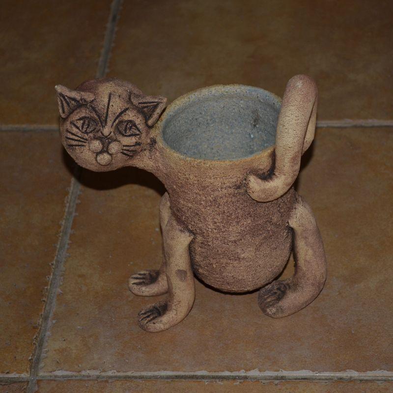 Šamotový květináč kočka - malý, váza