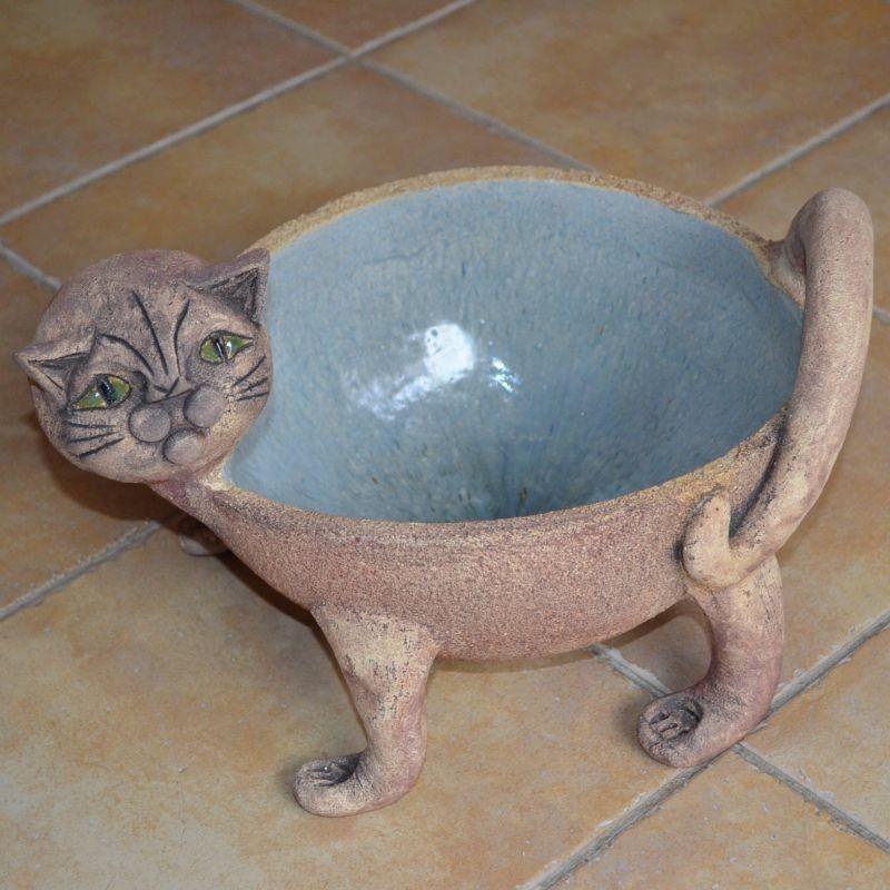 Šamotový květináč kočka - velký