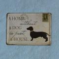 Plechová tabulka Dům bez psa - malá